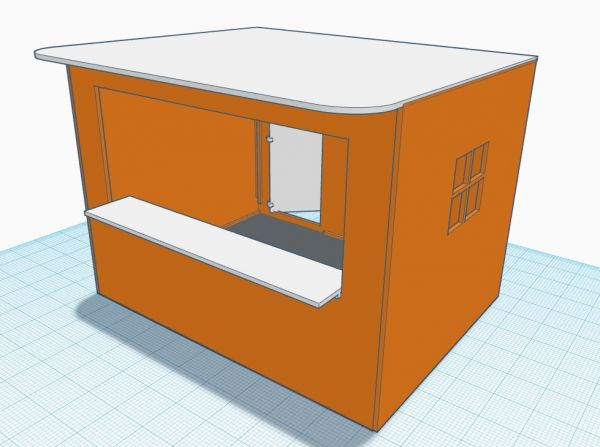 Slot-Store Verkaufsstand 06 Orange-Weiss Typ Orangenlimonade Bausatz 1:32 SVS132-FU