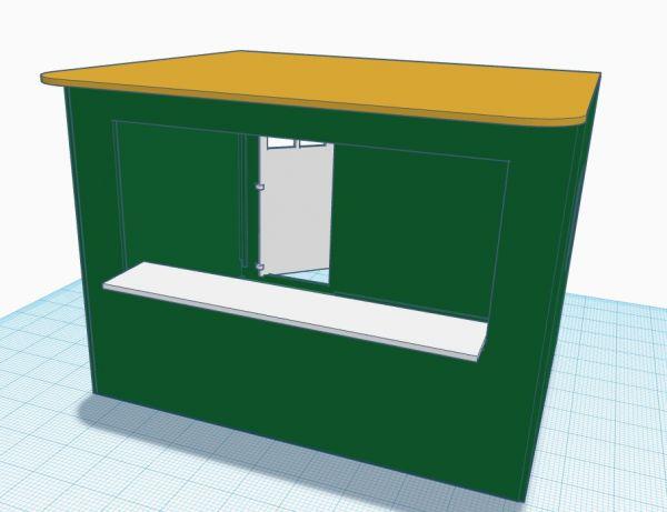Slot-Store Verkaufsstand 04 Grün Weiss-Gold Bausatz 1:32 SVS132-EB