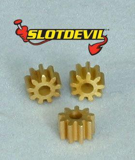 Slotdevil Motorritzel 9 Zähne M50 Messing Superglide für 2 mm (3 Stück) 20250309