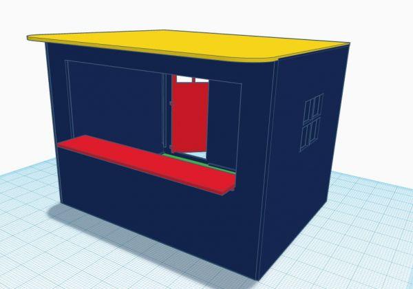 Slot-Store Verkaufsstand 03 Blau-Gelb-Rot Bausatz 1:32 SVS132-RBG